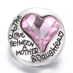1X Love Heart Crystal Chunk Charm Snap Button Fit 18mm Drill Noosa Jewelry 65-2
