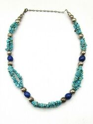 Desert Rose Trading 925 Sterling Silver Turquoise & Lapis Lazuli Necklace CB686