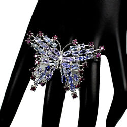 Unheated Oval Tanzanite 5x3mm Rhodolite 925 Sterling Silver Butterfly Ring Sz 8