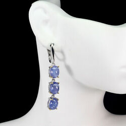 Unheated Oval Blue Tanzanite 9x7mm Natural 2-tone 925 Sterling Silver Earrings