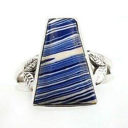 Charming Design Azurite 925 Solid Sterling Silver Ring Jewelry Sz 7 C21-8
