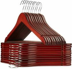 Wooden Suit Hangers  Cherry Color- Premium Lotus Wood with Notches 30 Pack