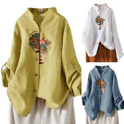 Womens Long Sleeve T-shirt Embroidered Button Down Tee Shirts Loose Tops Blouse $15.76