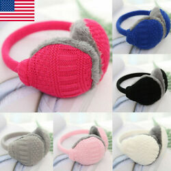 US Unisex Winter Warm Knitted Earmuffs Ear Warmers Muffs Women Men Earlap Cover