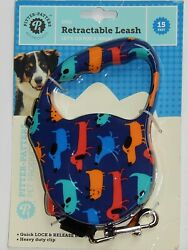 PITTER PATTERS DOG RETRACTABLE LEASH 15 FEET NEW AUTHENTIC $15.99