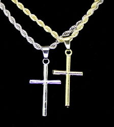 Men Women Thin Cross Plain Pendant 14k Gold Silver Plated 24quot; Rope Necklace $9.99