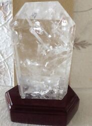Large Quartz Tabular Crystal Point AAA Quality Brazil Specimen with Wooden Base. $210.00
