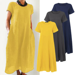 ZANZEA Women's Cotton Summer T-Shirt Dress Loose Midi Dress Sundress Plus Size $14.87
