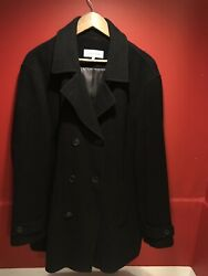CALVIN KLEIN mens Black Classic Coat Size Medium