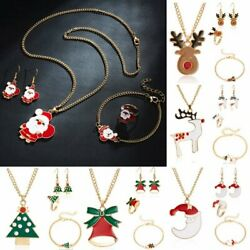 4 Pcs Christmas Jewelry Necklace Earrings Ring Bracelet Set Women Girl Xmas Gift