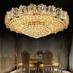 Modern K9 Crystal Gold Chandelier Flush Mount LED Ceiling Lamp Light Fixture $167.39