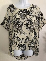 Michael Stars Printed Floral Silk Short Sleeve High Low Ivory Tunic Top Size L $13.80