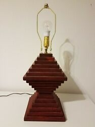 homemade bedroom lamp set wood pine sedona red color handcrafted $30.00