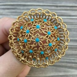 Vintage Jewelry Gold Tone Flower Daisy Dome Turqouise Stones Brooch Pin