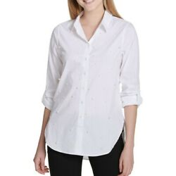 CALVIN KLEIN NEW Women's Poplin With All Over Pearl Button Down Shirt Top TEDO