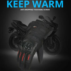 Winter Motorcycle Riding Gloves Long Waterproof Screen Touch Rubber Armor Cotton $18.99