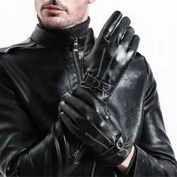 Mens Winter Warm Gloves Leather Motorcycle Full Finger Touch Screen Warm Gloves $13.99