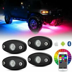 4x RGB LED Rock Lights Underglow Lamp Bluetooth Multi-color Offroad Boat Truck
