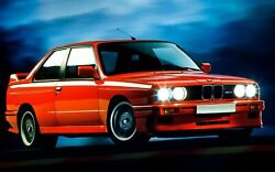 1986 BMW E 30 red Poster 24x36 inch wall decor $21.99