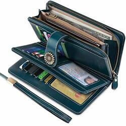 UMODE Vintage Style Genuine Leather Large Capacity RFID Wallet (Green)