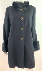 St John Collection Black Wool Cashmere Blend Winter Coat with Fur Trim Size 16