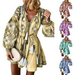 Women V-Neck Boho Floral Short Mini Dress Lady Long Lantern Sleeve Baggy Holiday $13.29