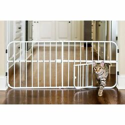 Pet Gates Extra Wide Gate With Door For Stair Dogs Adjustable Durable Convenient $41.95