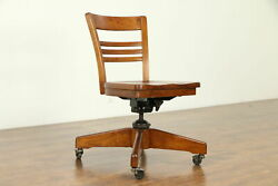 Midcentury Modern 1940's Vintage Swivel Adjustable Desk Chair Signed #32199
