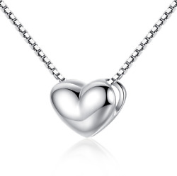 Solid Sterling Silver Classic Lovely Tiny Heart Pendant Necklace 18
