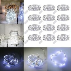 12 Pack 6.6ft 20 LEDs Battery Operated Mini LED Copper Wire String Fairy Lights $11.69