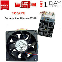 7500RPM Cooling Fan Replacement 4-pin Connector For Antminer Bitmain S7 S9 Black $13.99