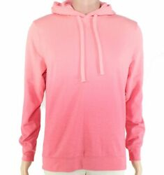 Club Room Mens Sweater Pink Orange Size S Hooded Ombre Drawstring $60 130