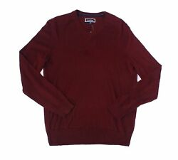 Club Room Mens Sweater Burgundy Red Size Small S V-Neck Pullover $65 042