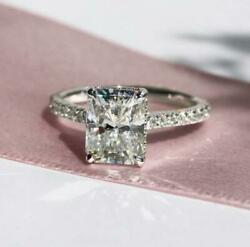 3.26 Ctw Radiant Cut Diamond Hidden Halo Engagement Ring 14K White Gold Over $54.02