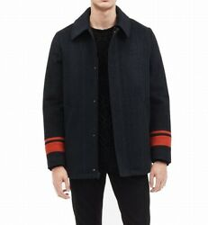 Calvin Klein Mens Coats Navy Blue Size Medium M Front-Zip Plaid Coat $199 110