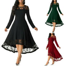 Womens Lace Patchwork Midi Dress Lady Long Sleeve Evening Party Cocktail Dresses $29.92