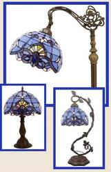 Lamp Tiffany Style Floor Table Desk Shade Vintage Victorian Glass Blue Purple $169.00