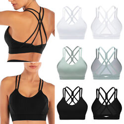 Women Sports Bra Cross Back Strappy Yoga Running Workout Bra with Removable Pads $15.67