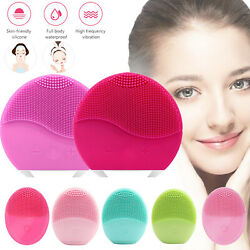 Brush Ultrasonic Electric Silicone Skin Care Face Facial Massage Wash Cleansing $7.02