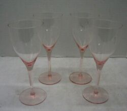 Vintage Blush Pink Glass Wine Glasses She Shed Book Club Set of 4 Free Shipping