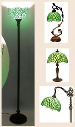 Deluxe Lamp Tiffany Style Floor Table Shade Vintage Victorian Glass Green New $234.00
