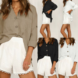 Womens Autumn Casual V Neck Loose Blouse Shirts Button Down Tops Cargo Shirt $16.55