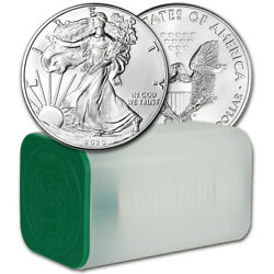 2020 American Silver Eagle 1 oz $1 - 1 Roll - Twenty 20 BU Coins in Mint Tube $765.22