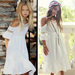 US Stock Kids Girl Holiday Princess Lace Dress Wedding Party Pageant Dress Beach