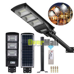 90W 180LED Durable Commercial Solar Street Light Dusk Dawn With Remote and Pole