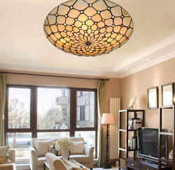 Tiffany Ceiling Chandelier Light Flush Mount Lamp Fixtures Stained Glass Decor $119.69