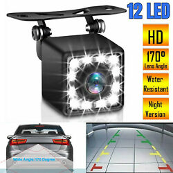 Car Rear View Backup Camera Parking Reverse Back Up Camera Waterproof CMOS 12LED $10.97
