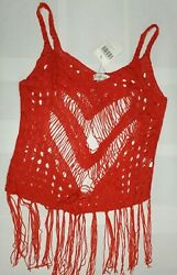 Lomantise Women#x27;s Bikini Cover Ups Crochet With Tassel Beach Dress Red $8.99
