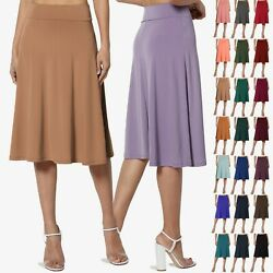 TheMogan Simple Foldover Stretch A Line Flared Knee Length Skirt Comfy Stylish $14.99