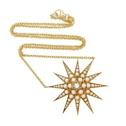 Starburst Pearl Diamond 18k Solid Gold Chain Necklace Victorian Inspired Jewelry